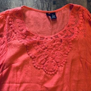 New Directions Top W/Embroidered Lace Trim XL